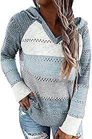 imrusan Women's Lightweight Color Block Knit Hoodies Sweaters Loose Long Sleeve V Neck Drawstring Pullover