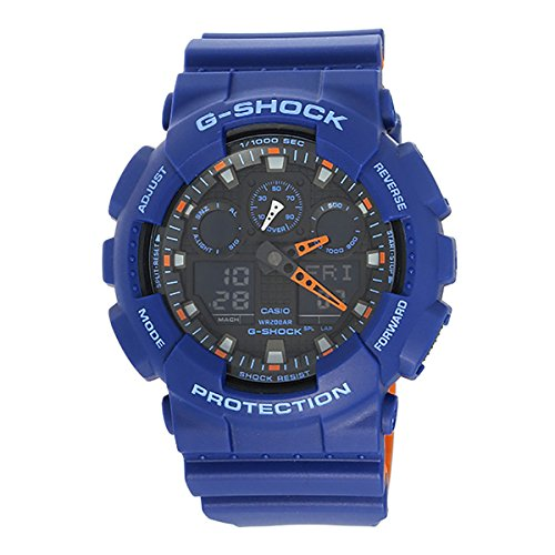 Casio Men's 'G SHOCK' Quartz Resin Casual WatchMulti Color (Model: GA-100L-2ACR) Orange G-shock