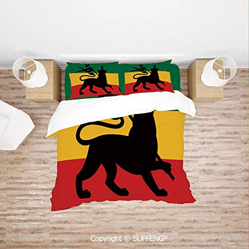 SCOXIXI 3D Bedding Sets Rastafarian Flag with Judah Lion on Reggae Music Inspired Decor Image Decorative (Comforter Not Included) Soft, Breathable, Hypoallergenic, Fade Resistant