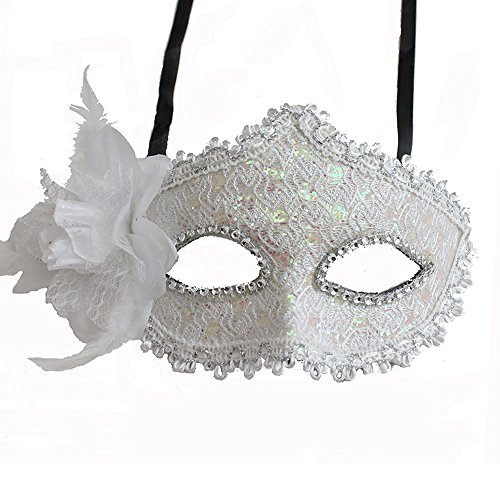 Glitter Ball Costumes (Floral Mask w/Rhinestones and Glitter for Costume Masquerade Ball Dancing Party (White))
