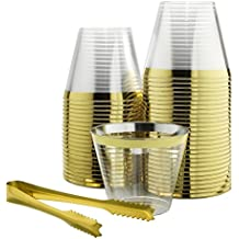 100 Gold Rimmed Plastic Cups & 1 Gold Ice Tong Set | 9 Oz Disposable Cocktail Glasses | Fancy Wine Tumbler for Weddings, Birthdays, Bachelorette Parties and Bridal Showers | Elegant Party Supplies