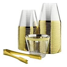 100 Gold Rimmed Plastic Cups & 1 Gold Ice Tong Set | 9 Oz Disposable Cocktail Glasses | Fancy Wine Tumblers for Weddings, Birthdays, Bachelorette Parties and Bridal Showers | Elegant Party Supplies