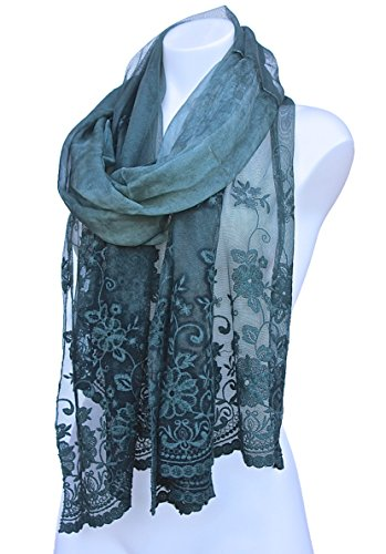 Terra Nomad Women's Girls Long Sheer Silk & Viscose Lace Scarf/Shawl - Dark Green (Sheer Silk Linen)