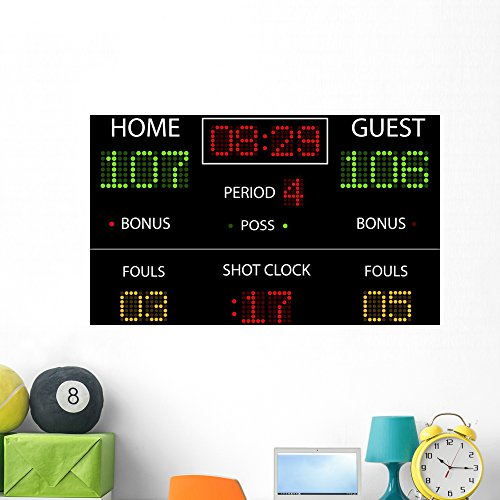 Wallmonkeys Vector Basketball Scoreboard Wall Mural Peel and Stick Graphic (48 in W x 32 in H) ()