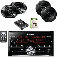 Pioneer Vehicle Digital Media 2DIN Receiver with Bluetooth with Pioneer 6.5 Inch Audio Speakers Pair, Pioneer 6.8 Inch Car Speakers Pair, Lanzar Heritage Mosfet Amplifier & Enrock Amplifier Wiring Kit