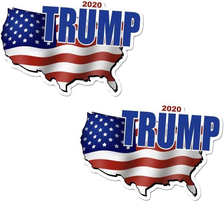 TRUMP 2020 Bumper Sticker Decal Political Republican Flag Vinyl Window 2-PACK