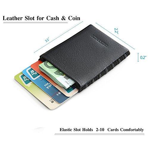 E Piccolo Sottile Di Carte Pelle Con In Rfid Portafoglio Credito Nero bianco Porta Uomo Tessere OBw5qIZ