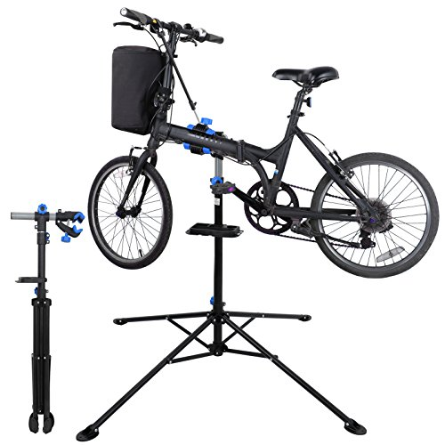 ZENY Adjustable Mechanic Bike Repair Stand Bicycle Maintenance Rack Workstand with Tool Tray 360 Degree Rotate Telescopic Arm Cycle