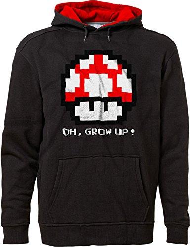 BSW Men's Oh, Grow up! Super Mario Bros Super Mushroom 8-bit Hoodie 3XL (Mens Super Mario Luigi Hoodie)