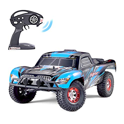 Keliwow Brushless RC Truck,1:12 Scale 4WD Brushless High Speed Motor 40 MPH Monster Off-Road RC Car with Strong Suspension and 2.4GHz Radio RTR All Terrain Car (01-Blue)