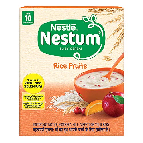 Nestlé NESTUM Baby Cereal – From 10 to 24 months, Rice Fruits, 300g Bag-in-Box Pack