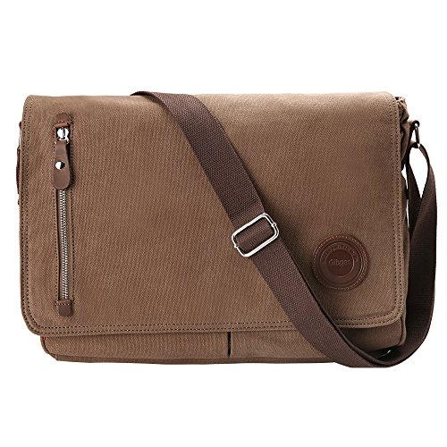(Gibgas 15.6 Inch Vintage Canvas Messenger Bag Laptop Shoulder Bag Satchel with Laptop Compartment for Men Women School Work (Brown))
