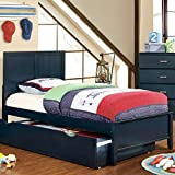 Prismo Transitional Style Blue Finish Twin Size Bed Frame Set