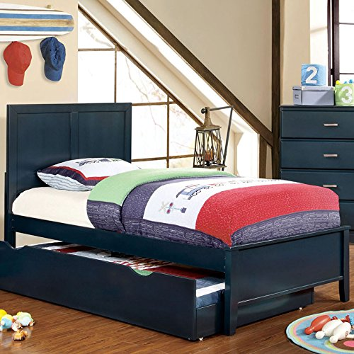 Prismo Transitional Style Blue Finish Twin Size Bed Frame Set by 247SHOPATHOME