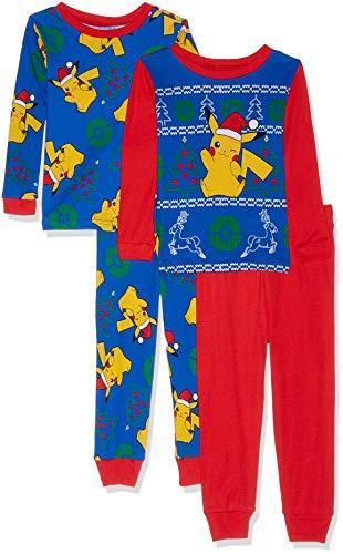Pokemon Boys Pikachu Holiday 4-Piece Cotton Pajama Set