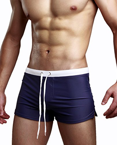 Blugibedramsh Mens Swim Trunks Sports Shorts Boardshorts Training Pants, Navy, US L/Asia XL