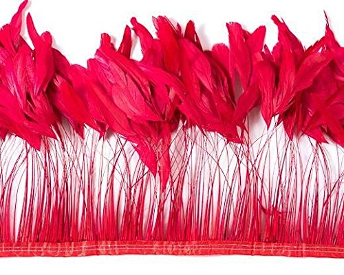 Schuman Feathers, 1ft, Stripped Coque, 8-10 inch, 100-125 Feathers, Cocktails, Millinery, Derby hat Feathers, Wholesale, per 12 inches (Red) -