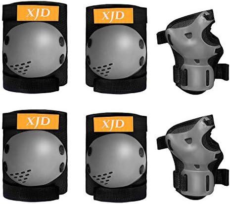 [해외]XJD 자전거 프로텍터 키즈 어린이 무릎 팔꿈치 손목 보호 패드 6 점 세트 초경량 크기 조절 자전거 스케이트 보드 킥 보드 보호 스포츠 보호 대 보호 패드 (블랙 S) / XJD Bike Protector Kids Knee Elbow Wrist Protective Pad 6 Pieces Set Ultra ...