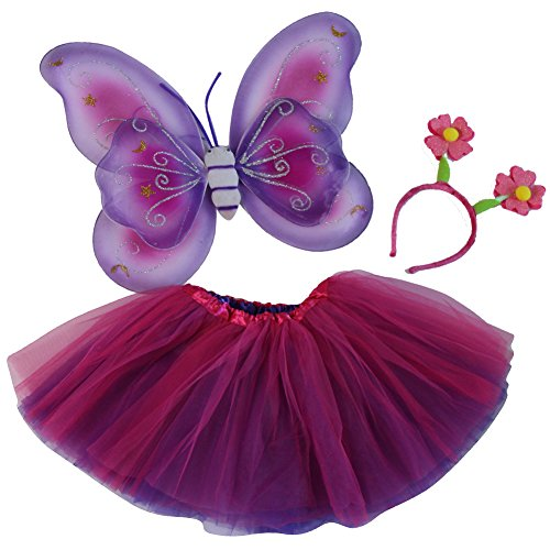 [Girls Pink and Purple Reversible Tutu, Butterfly Wings & Flower Bopper Headband Set] (Purple And Pink Butterfly Wings)