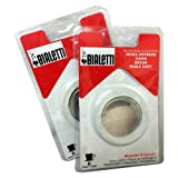 Bialetti® (2-Packs) of #06961, total of SIX replacement gaskets and TWO Bialetti® replacement filter plates (For 6-CUP Bialetti Moka Express, Dama, Break, Moka Easy & Dama Easy) (6-CUP)