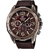 ساعة كاسيو اديفيس بنية للرجال بسوار من الجلد كرونوغراف - EFR-538L-5A