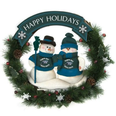 SC Sports Tampa Bay Devil Rays Team Snowman Christmas Wreath ()