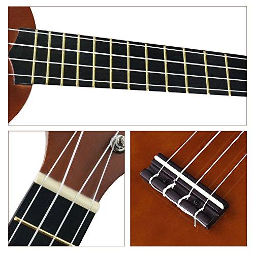 Soprano Ukulele For Beginners Four String Ukulele Start Pack W/ Gig Bag Tuner Picks Polish Cloth Extra Strings (Brown) - Image 4