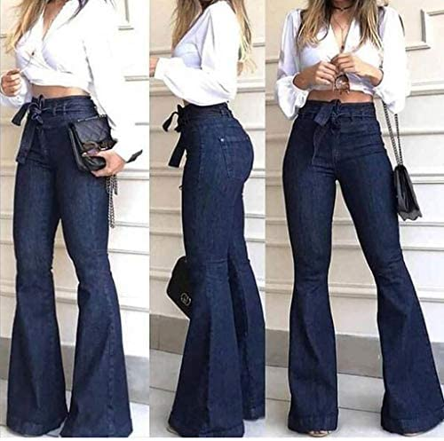 Deatu Women S Wide Leg Demin Jeans Pants High Waisted Self Tie Flare Pants Bell Bottom Jeans At Amazon Women S Jeans Store