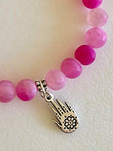 Crackle Chest - Hamsa Hand Bracelet, Pink Crackle Agate Bracelet, Hot Pink Gemstones, Henna Hand, Yoga, Good Luck Charm, Sterling Silver, Stretch Bracelet.