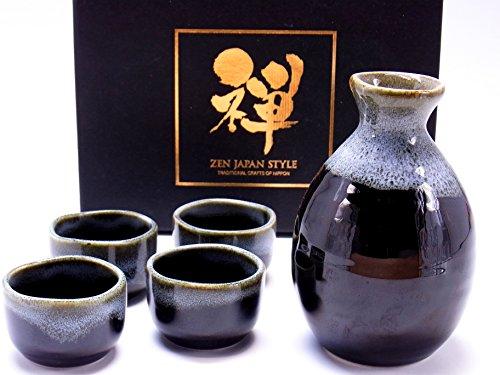 Sake Set Tokkuri Guinomiset Made in japan 5 piece set (brown,white) (Best Sake In Japan)