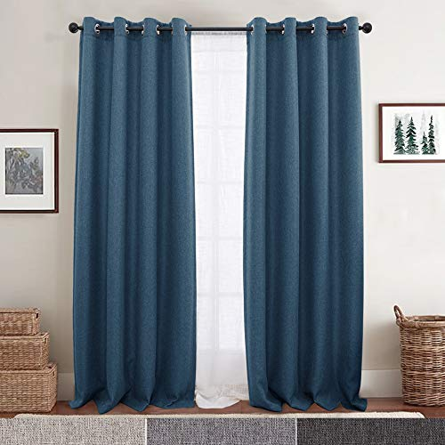 (2 Panel Blackout Curtains Blue 95 inch Bedroom Drapes Living Room Window Curtain Set Grommet Top Window Treatment)