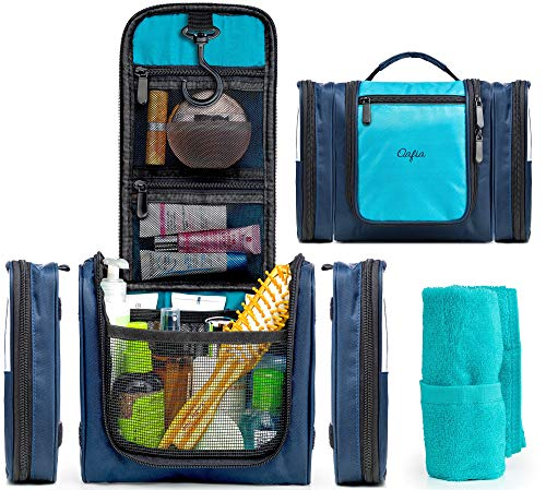 Travel Toiletry Bag for Men & Women with Strong 360° Hook by Oafia - Hanging Cosmetic Kit with 2 Detachable Pouches and 17 Different Compartments | Waterproof Medium Case (11.8x8.3) Make-up Organizer