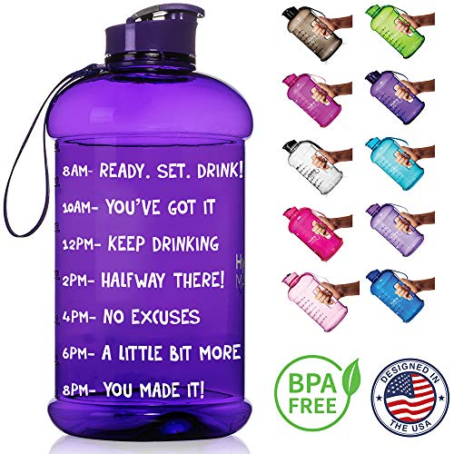 NatureWorks HydroMATE Half Gallon Motivational Water Bottle with Time Marker Large BPA Free Jug with Handle Reusable Leak Proof Bottle Time Marked to Drink More Water Daily 64oz (Purple)