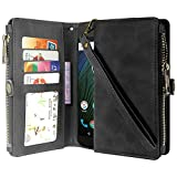 Cheap Moto G5 Plus Case, Moto G Plus (5th Gen) Case, Linkertech Premium Leather Flip Zipper Wallet Case Cover with Card Holder and Wrist Strap for Moto G Plus (5th Gen) (Zipper Black)