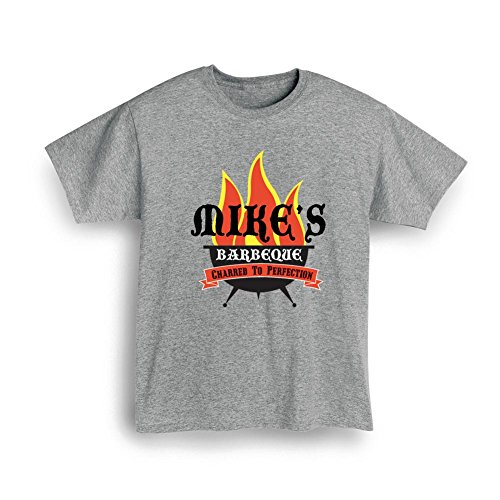 Unisex-Adult Personalized Custom Name Barbeque Grillin' Flames T-Shirt - Large