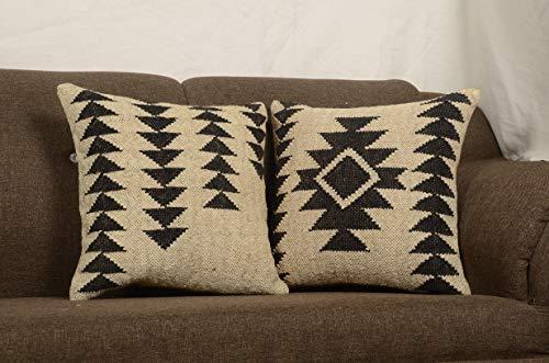(Chouhan Rugs 2 Set of Kilim Cushion Cover Jute Ethnic Pillow Boho Hand Woven Shams Hippie Indian Throw Art)