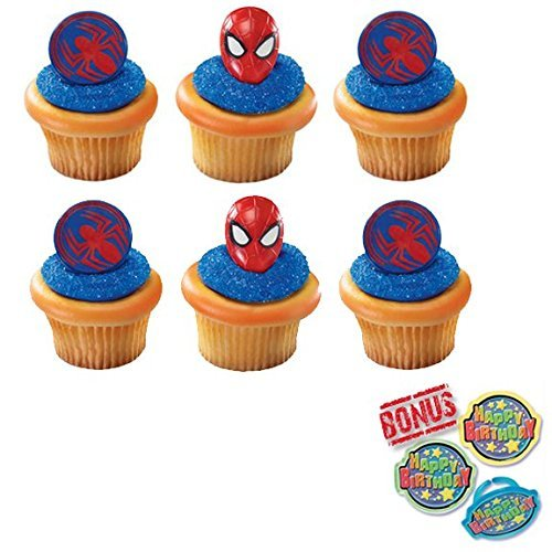 Ultimate Spider-Man Mask and Spider Cupcake Toppers and Bonus Birthday Ring - 25 pieces -