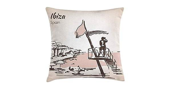 RAINNY Ibiza Throw Pillow Cushion Cover, Sketch Lifeguard ...