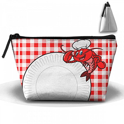 Crawfish Chef Cookout Invite Cosmetic Bags Portable Travel Toiletry Pouch Makeup Organizer Bag With Zipper (Cook Scallops Sea)