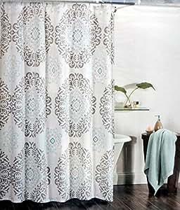 Amazon Com Tahari Fabric Shower Curtain Gray And Aqua