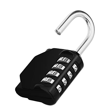 ZHENGE 4 Digit Combination Padlock Outdoor, School, Gym Black Lock