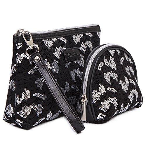Zakaco Makeup Bag Pouch Purse,Cosmetic Bag Set for Women,Makeup Bag Pouch Purse Handbag Organizer with Zipper (Black)