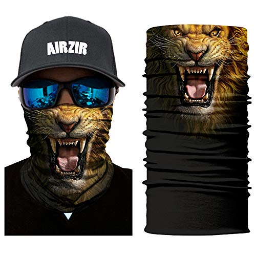(Airzir Outdoor Face Mask Premium Breathable Seamless Tube Motorcycle Face Mask Wind Dust UV Protection Moisture Wicking Microfiber Face Mask for Motorcycle Riding Cycling Hiking Climbing (Lion-875))