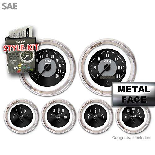 Aurora Instruments GARA2ZEXPABCC Style Kit (Style Kit - SAE American Classic Black, Black Modern Needles, Chrome Trim Rings)