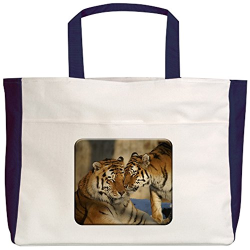 truly-teague-beach-tote-2-sided-nuzzling-tiger-love-navy