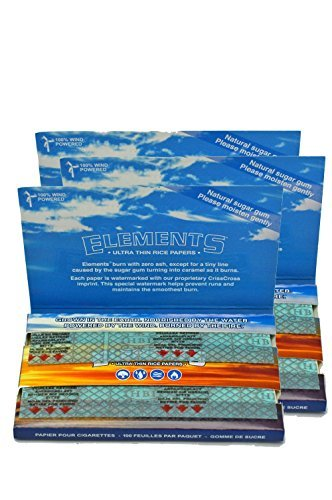 Elements Ultra Thin Rice Rolling Papers 70mm Single Wide Double Window (3 - Name Khalifa Wiz Glasses