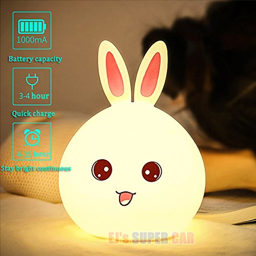 Children Night Light Lamp Silicone Touch Sensor Rabbit LED Lamps Color Changing Breathing Light,Baby Nursery Bedrooms Best Christmas Gifts Bedside Lamps LED Night Light for Kids