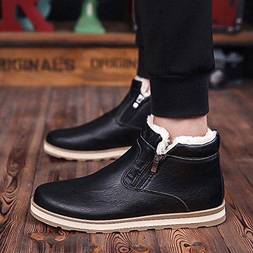 Men's Shoes Feifei PU Material High Help Winter Trendy Leisure Keep Warm 3 Colors (Color : Black, Size : EU39/UK6/CN39)