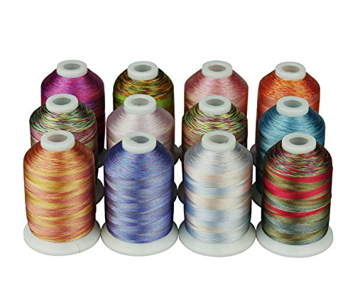 Simthreads 12 Multi Color/Variegated Color Embroidery Machine Thread 1000 Meters Each for Janome Brother Pfaff Babylock Singer Bernina Husqvaran and Most Home Embroidery Machines