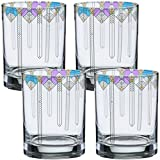 Frank Lloyd Wright April Showers DOF Double Old Fashioned Glass 14-Ounce Set of 4